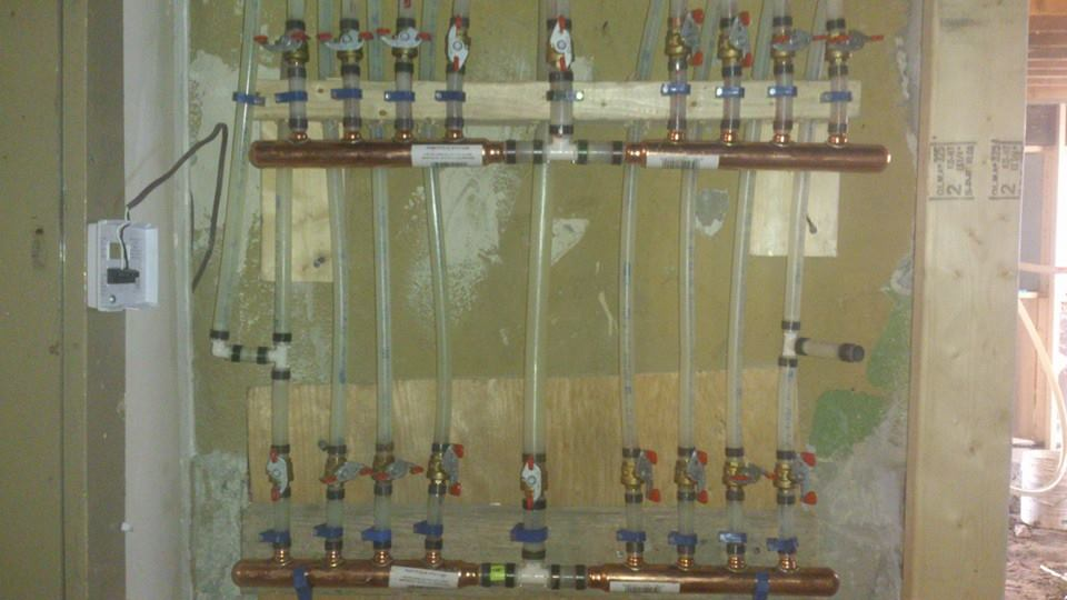 Manifold System for 6 apartments with a total of 18 shut off valves