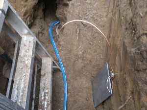 New 3/4 PEX line with grounding plate